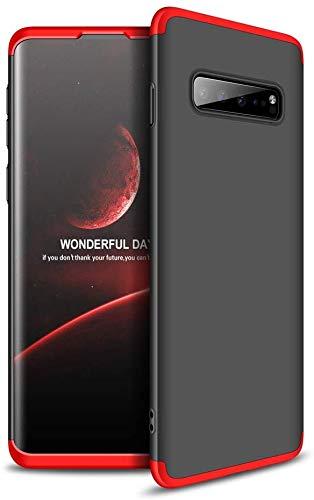 Capa Capinha Anti Impacto 360 Para Samsung Galaxy S10 Plus S10+ Tela De 6.4Polegadas Case Acrílica Fosca Acabamento Slim Macio - Danet (Preto com Vermelho)