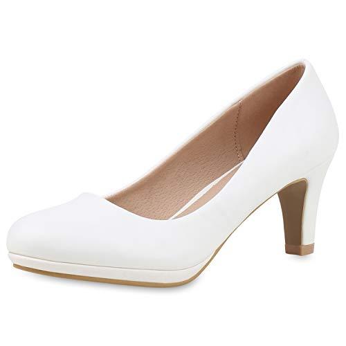 SCARPE VITA Klassische Damen Pumps Absatzschuhe Leder-Optik Schuhe Elegante Abendschuhe 188952 Weiss Weiss Total 38