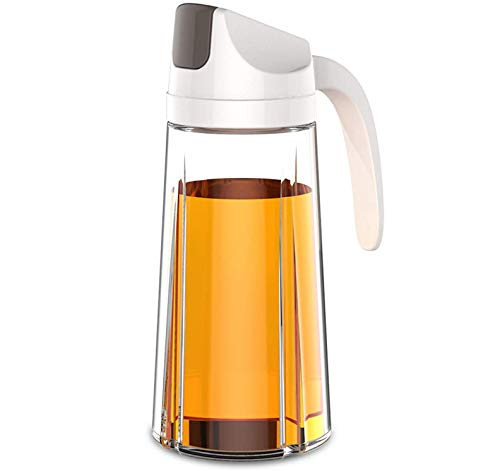 Botella dispensadora de vidrio de aceite de oliva, 630 ml, contenedor de condimentos a prueba de fugas con tapa automática y tapón, boquilla antigoteo, mango antideslizante para cocina