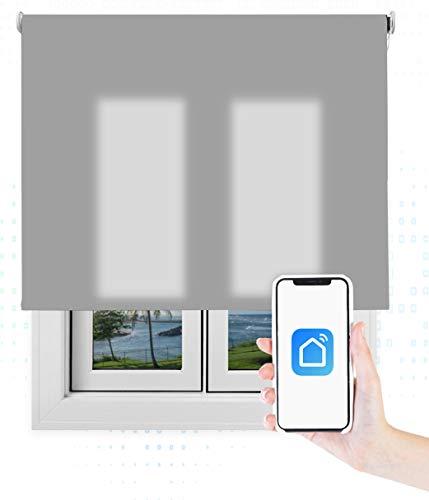 EB ESTORES BARATOS Smart Roll Wi-Fi Transúcido/Estor Enrollable Inteligente/Programación Horaria/Alexa/Google Home/RF/Color: Gris. Medidas: 140cm x 260cm