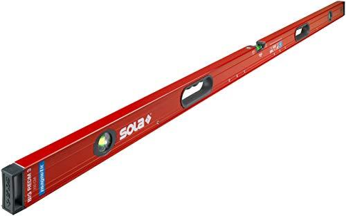 SOLA Big RedM 200 - Wasserwaage magnetisch 200 cm - starker Halt durch Neodym Magnete - Wasserwaage mit Magnet 200cm - patentierte SOLA-Focus Libelle - mit schockabsorbierenden Endkappen