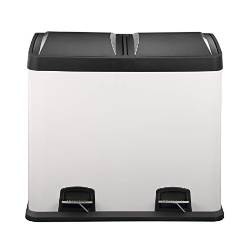 Mari Life Dual Recycling Bin 48L | White Rubbish Bin | Food Waste Pedal Bin | Premium Plastic Lids | 2 x 24 Litre Removable Compartments to Separate Waste and Easy Recycling