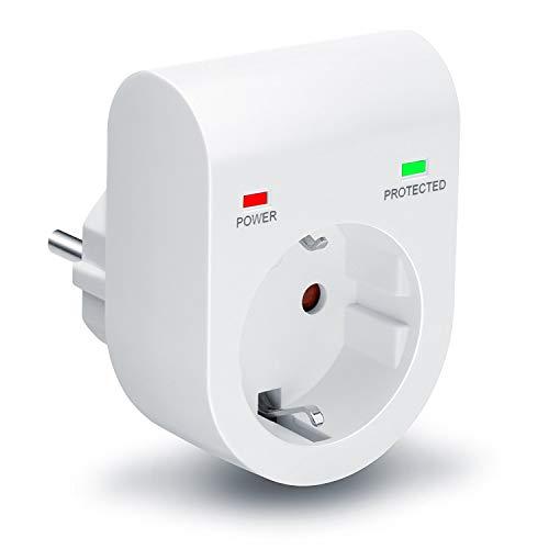 Arendo - Presa di protezione anti sbalzi di tensione - Antifulmine - fino a 3500 W - IP 20 - Sicura prese integrata - Colore bianco opaco