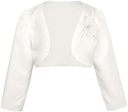 ACSUSS Little Big Girls Long Sleeves Bolero Wedding Pageant Shrug Flower Dress Cover Up Short product image