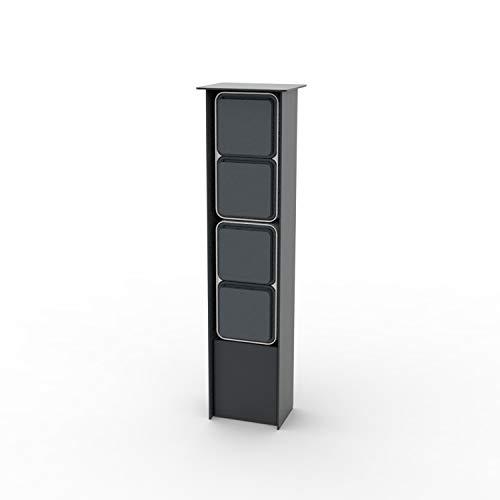 Jehoka Columna B 4.4 - Toma de corriente para exteriores (acero inoxidable con recubrimiento de polvo, 1 interruptor de serie y 2 enchufes), color gris oscuro