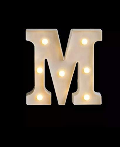 Yuna - Letras luminosas LED, letras decorativas con luces LED, letras del alfabeto, color blanco (M blanco (pequeña, 16 cm)