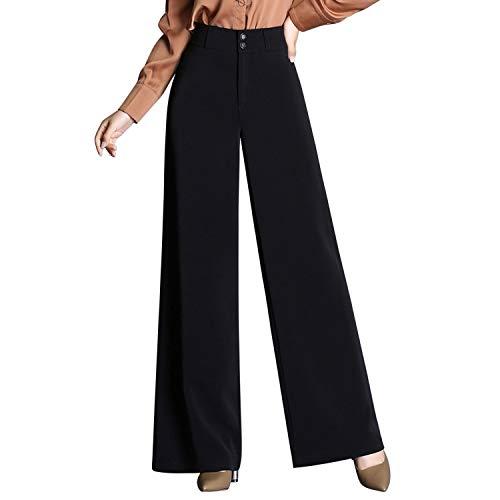 LAEMILIA Damen Hosen Marlenehose Schwarz mit Hohe Bund Einfarbig Stoffhose Elegant Business Anzughosen Classic Partywear