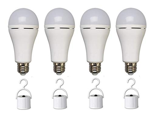 Emergency LED Light Bulb 5W Rechargeable Emergency Lamps Battery Backup Portable Emergency Bulb for Power Outage Home Hurricane Camping,with Hook Switch,40W Equivalent,Cool White 6500K,4Pack