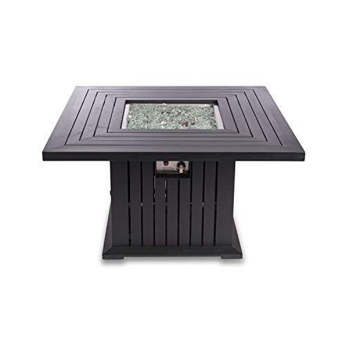 EV Fires 43-Inch Classic Square Outdoor Patio Propane Gas Fire Pit Table - Stainless Steel Top Fire Glass Rocks - Coffee Table Converter, and PVC Cover (Fire Pit Only)