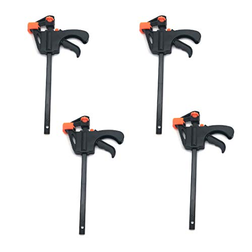 M MIMHOOY 4 Pcs Bar Clamps for Woodworking, 4 inch Quick Grip Clamps Light-Duty F Clamp Woodworking Hand Tool