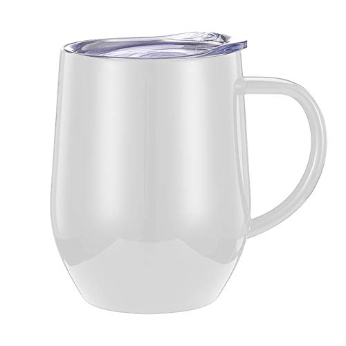 KOET Edelstahl-Tasse, auslaufsicher, doppelwandig, versiegelt, 350 ml, mit Deckel, Griff, doppelwandig, isoliert, für Reisen