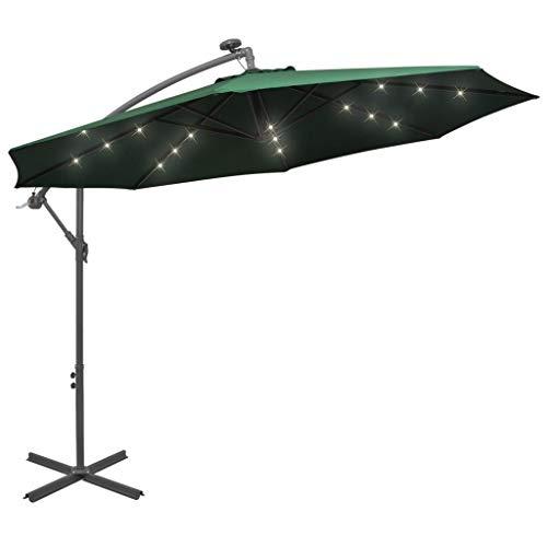 vidaXL Sonnenschirm mit LED-Beleuchtung Kurbelmechanismus Gartenschirm Strandschirm Ampelschirm Schirm Balkonschirm Marktschirm 300cm Metallmast