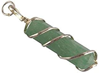 Aatm Healing Gemstone Green Aventurine Wired Pencil Pendant Stone for Creativity