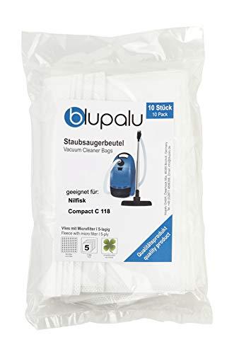 blupalu I Staubsaugerbeutel für Staubsauger Nilfisk Compact C 118 I 10 Stück I mit Feinstaubfilter