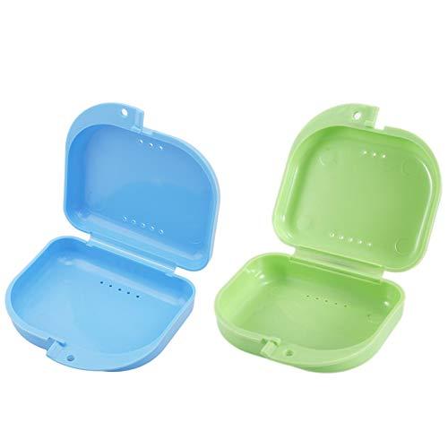 Caja de Dentadura Almacenamiento Caja de Baños para Dentadura Caja de Dentadura Caja de Dentadura Protector Bucal Cajas para Retenedores Dental 2 Piezas (Cian y azul)