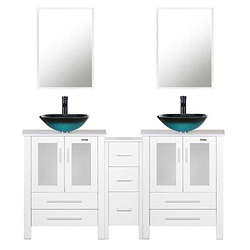 eclife 60'' Bathroom Vanity Sink Combo W/White Small Side Cabinet Vanity Turquoise Square Tempered Glass Vessel Sink & 1.5 GPM Water Save Faucet & Solid Brass Pop Up Drain, W/Mirror (A10 2B02W)