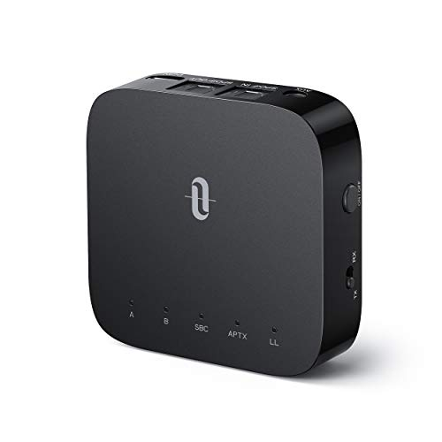TaoTronics Adaptador Bluetooth 5.0 Transmisor Receptor 2 in 1 Baja Latencia Audio Inalámbrico 3.5mm, AUX SPDIF Salida/Entrada, Doble Conexión, 24 horas de Reproducción