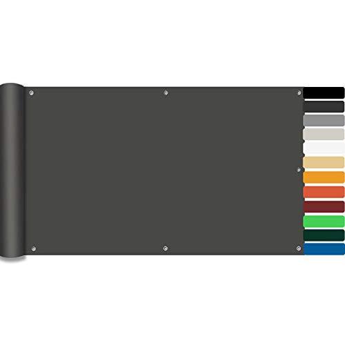 LYYK Copri Ringhiera Balcone, Resistenza agli Agenti atmosferici, Protezione UV, Dettagli Raffinati e Lunga Durata, per Esterno Balcone terrazza, 100x500cm Antracite