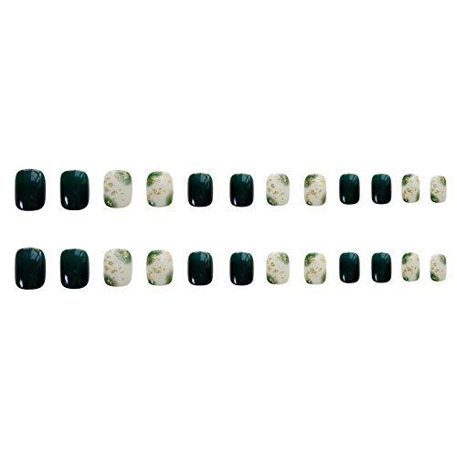 CLOAAE 24pcs / box dark green dye fake nail patch worn nail tips show hands white short square head fake nails