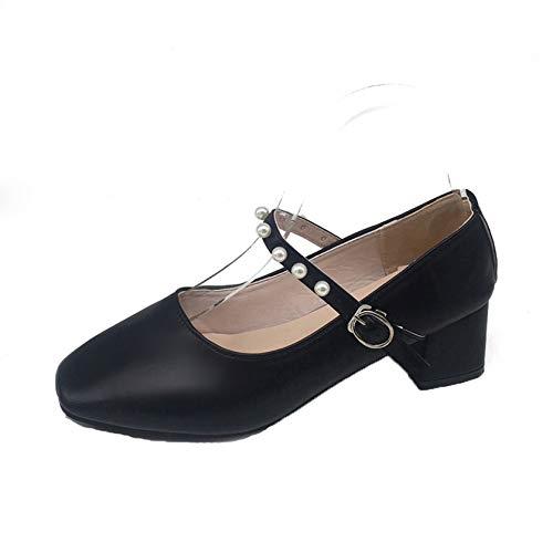 Frauen Court Schuhe Elegante Knöchelriemen Shallow Mouth Kleid Schuhe Spring Pu Leder Square Toe Tragbare Mary Jane Schuhe
