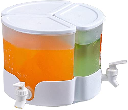 360° Rotating Refrigerator Drink Dispenser - 5.2L Large Capacity Cold Kettle with Faucet and 3 Detachable Compartment Cold Drink Pot for Juice Ice Tea Wine Coffee