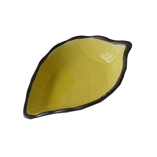 LILICEN Plato de cerámica pequeña vajilla de Cocina Multifuncional Vinagre Plato del condimento del Plato de cerámica Creativa del Plato Snack-Plate 4 Amarillo Hoja 11X7X3Cm