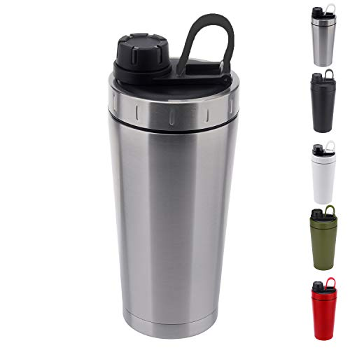 Stainless Steel Protein Shaker Bottle Insulated Keeps Hot/Cold Dishwasher Safe/Double Wall/Odor Resistant/Sweatproof/Leakproof/BPA Free 20 oz (Silver Black)