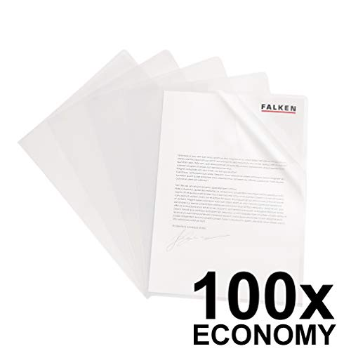 Original Falken 100er Pack Economy PP-Kunststoff Aktenhüllen. Für DIN A4 transparent genarbt farblos oben und seitlich offen Plastikhülle Klarsichthülle für Büro und die mobile Organisation