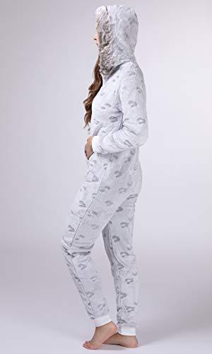 maluuna – Damen Fleece-Onesie mit Bündchen an Arm- und Beinabschluss, extrem Kuscheliger Damen Jumpsuit; Farbe:beige - 4