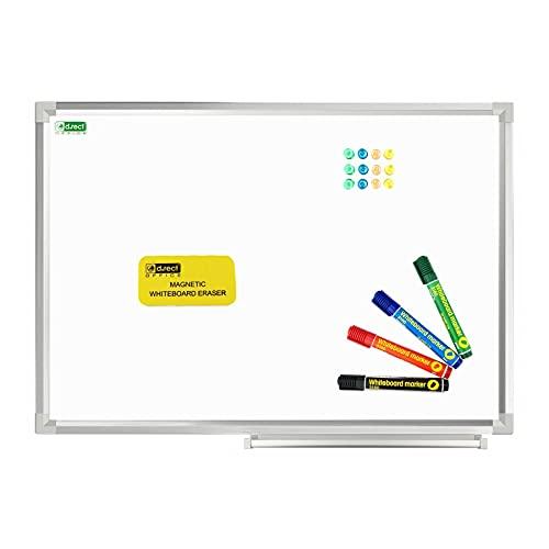 D.RECT Magnetisches Whiteboard SET mit Aluminiumleisten trocken abwischbar 60 x 45 cm Stiftablage und abwischbar Marker Rundspitze 4er Set 12 Stück Starke Tafelmagnete Whiteboard Schwamm