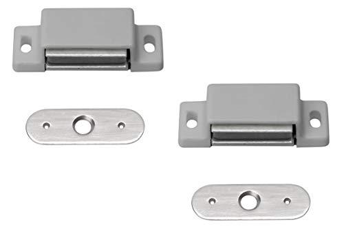 Metafranc Attache magnétique – Plaque arrière fixe – Montage facile – Convient pour portes de meubles et rabats/fermeture de porte/aimant de maintien/boucles de meuble, 361006
