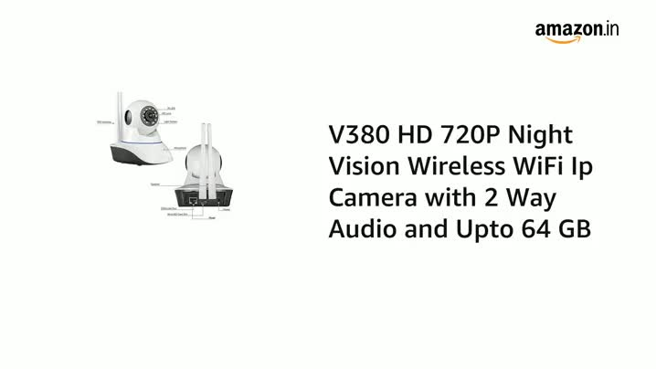 Buy V 380 Pro HD 720P Night Vision Wireless WiFi Ip Camera with 2 Way Audio and Upto 64 GB SD Card Support Online at Low Price in India   VOLTAC Camera