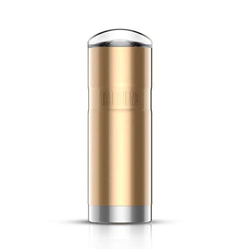 HLJ Coche Hervidor eléctrico, Taza del Viaje Inteligente, Coche 12V Copa Calefacción, 350ML de Capacidad de Acero Inoxidable Termo, Inteligente Temperatura (Color : Gold)