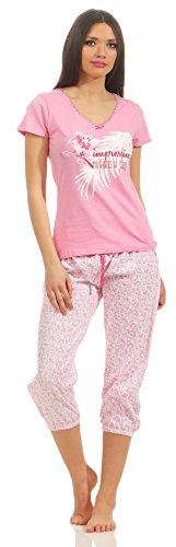 Good Deal Market - Pijama de verano para mujer en diferentes modelos. Algodón ligero. Tallas desde 36/38 hasta 48/50 Rosa con pantalón pirata Large