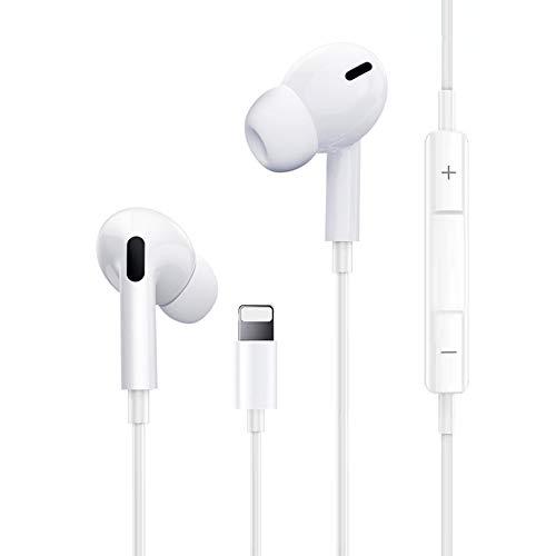 Auriculares para iPhone, Auriculares con micrófono y Control de Volumen Compatible con iPhone 12/12 Pro/11/11 Pro/XS Max/XS/XR/X/7/7 Plus/8/8 Plus Soporta Todo el Sistema iOS
