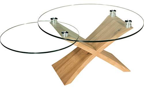 tischdesign24 Melton218 Couchtisch rund mit schwenkbarer Glasablage. Kreuzgestell in Wildeiche Massivholz. Größe: 90cm rund Klarglas Höhe: 49cm