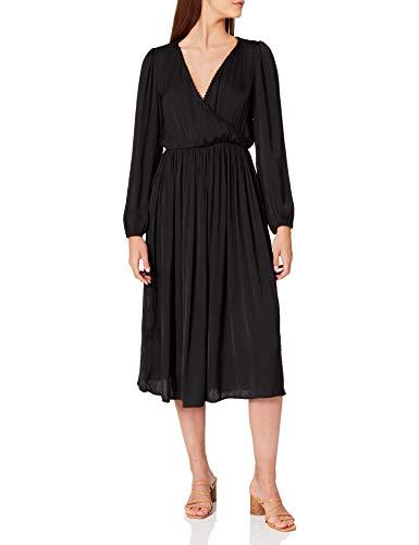 Springfield Vestido Midi Escote Cruzado, Negro, 40 para Mujer
