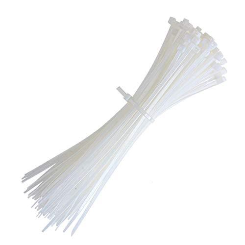 Kabelbinder, Länge: 200 mm, Breite: 4 mm, Kabelbinder Weiß, Nylon Hochleistungs Kabel binder für die Kabelführung, 100 Stück