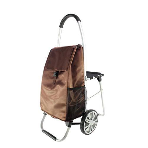 KEKEYANG Carrito Carro Plegable con Asiento portátil de carros de Mano, marrón, 60 * 100cm Cocina