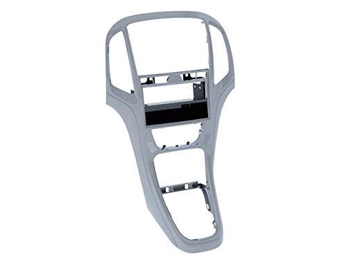 Carmedio - Mascherina per autoradio 1-DIN con vano portaoggetti, per Opel Astra J, colore: Argento platino