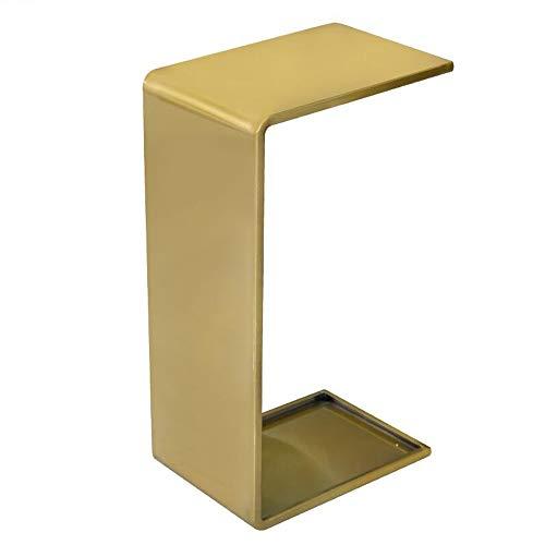 JCNFA BIJZETTAFEL U-vormige Metalen Eindlijst, Lui Tafel Met Laptop, Nachtkastje, Bank C-vormige Bijzettafel, Gouden (Color : Gold, Size : 13.77 * 9.84 * 24.80in)
