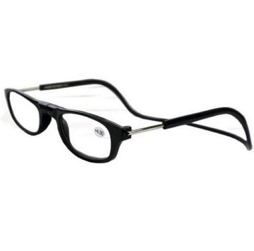 Opvouwbare magneet leesbril. Front Connect. Gebouwd in riem. Clic Top kwaliteit (zwart/+3.0)