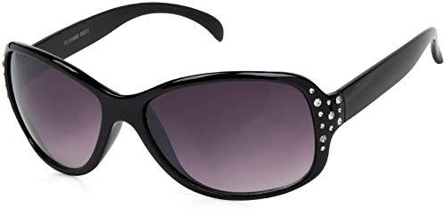 styleBREAKER Gafas de sol de mariposa para mujer con estrás y gradiente, forma de mariposa 09020054, color:Marco negro / delineado vidrio gris