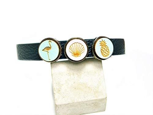 Armband Leder blau Lederarmband tropisch Armreif