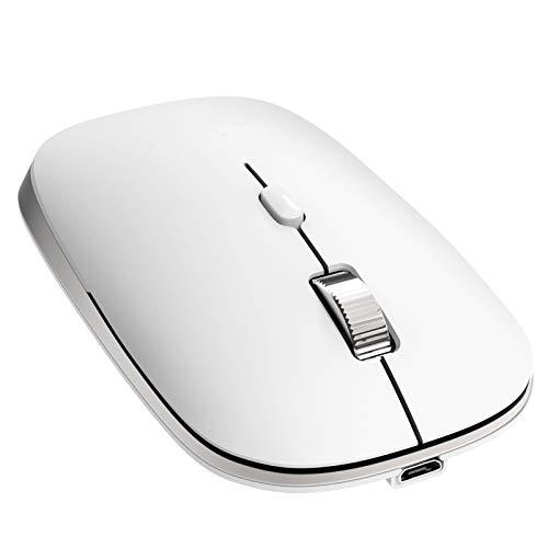 【2021最新版】YIHOPE ワイヤレスマウス Bluetooth 5.0 マウス 充電式 超薄型 光学式 静音 電池不要 無線マウス 高精度 省エネモード 3DPI段階 4ボタン iPad/iPhone/Mac/Windows/Androidに対応 日本語説明書付き ホワイト