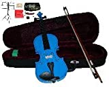 Merano 16' Blue Viola with Case and Bow+Extra Set of Strings, Extra Bridge, Shoulder Rest, Rosin, Metro Tuner,Black Music Stand, Mute
