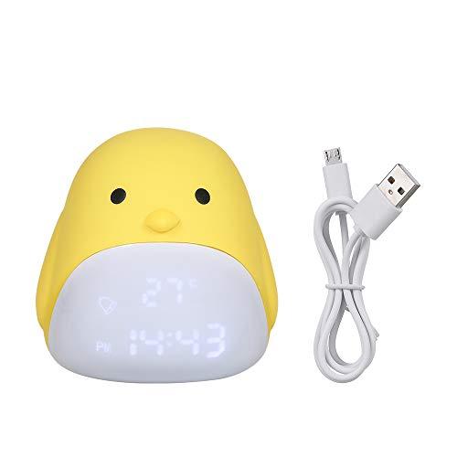 Lilideni Niedliche Küken Digital Wecker USB Lade Nachtlicht mit DREI Helligkeitsstufen Touch...