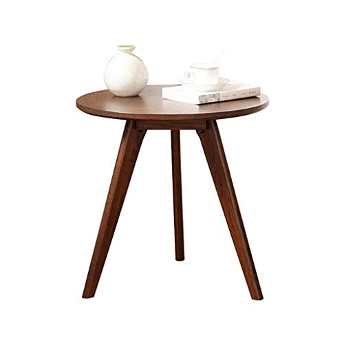 FSAQ All Solid Wood Side Table Pure Oak Sofa Round Table Modern Minimalist Living Room Small Apartment Small Coffee Table (Color : Walnut, Size : 65 * 60CM)