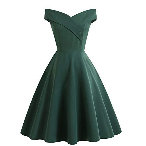 Damen schulterfrei charmante Cocktail Swing Midi Kleider Party Hochzeit einfarbig für Damen grün Größe M