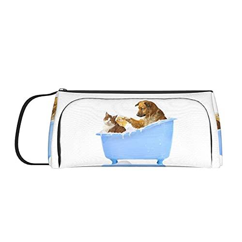 Estuche para lápices de animales para perros y gatos en la bañera, con asa